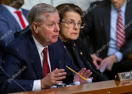 Republican Committee Chair Lindsey Graham (L) questions Justice Department Inspector General Michael Horowitz, as ranking Democratic Senator from California Dianne Feinstein (R) listens, before the Senate Judiciary Committee hearing examining the Inspector General's report on alleged abuses of the Foreign Intelligence Surveillance Act (FISA), on Capitol Hill in Washington, DC, USA, 11 December 2019. The report issued by the Justice Department's watchdog states that the launch of the original FBI investigation into the 2016 Trump presidential campaign had a solid legal basis, contradicting Trump's claim his campaign was victim of a 'witch hunt'.