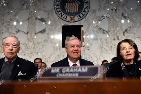 Lindsey Graham, Chuck Grassley, Dianne Feinstein. Senate Judiciary Committee Chairman Lindsey Graham, R-S.C., center, flanked by Sen. Chuck Grassley, R-Iowa, left, and ranking member, Sen. Dianne Feinstein, D-Calif., right, as they wait for the start of a hearing with Department of Justice Inspector General Michael Horowitz on Capitol Hill in Washington, to look at the Inspector General's report on alleged abuses of the Foreign Intelligence Surveillance Act