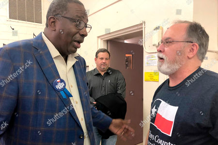 Royce West, Jimmy Alan Hall. Democrat Royce West, left, a Texas state senator who is running for U.S. Senate in Texas, talks with local party organizer Jimmy Alan Hall after a campaign stop in San Marcos, Texas. West is one of a dozen Democrats in Texas running to challenge Republican incumbent John Cornyn in 2020