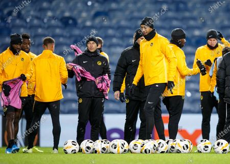 BSC Young Boys' Guillaume Hoarau (3-R) during a training session in Glasgow, Britain, 11 December 2019. Young Boys will face Rangers Glasgow in their UEFA Europa League group G soccer match on 12 December 2019 in Glasgow.