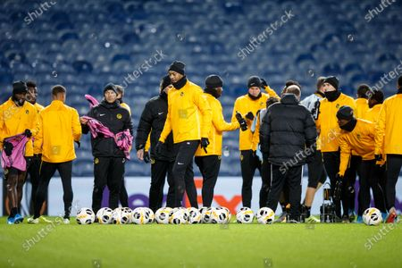 BSC Young Boys' Guillaume Hoarau (C) during a training session in Glasgow, Britain, 11 December 2019. Young Boys will face Rangers Glasgow in their UEFA Europa League group G soccer match on 12 December 2019 in Glasgow.