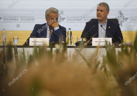 The Presidents of Ecuador, Lenin Moreno (L), and Colombia, Ivan Duque (R), take part in the VIII Binational Cabinet between Colombia and Ecuador, in Cali, Colombia, 11 December 2019.