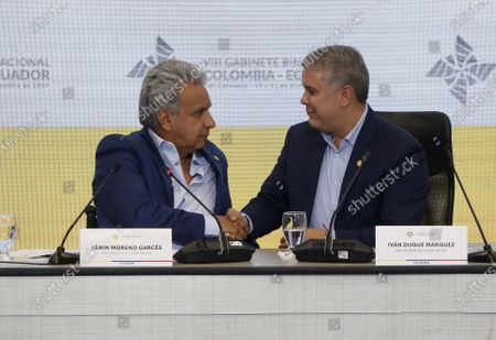 The Presidents of Ecuador, Lenin Moreno (L), and Colombia, Ivan Duque (R), greet each other during the VIII Binational Cabinet between Colombia and Ecuador, in Cali, Colombia, 11 December 2019.