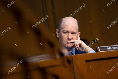 United States Senator Christopher A. Coons (Democrat of Delaware) listens to Michael Horowitz, Inspector General at the U.S. Department Of Justice, testify on his report regarding alleged abuses of the Foreign Intelligence Surveillance Act during a United States Senate Committee on the Judiciary hearing