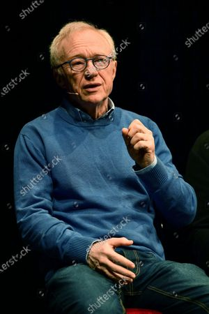 Stock Image of Israeli author David Grossman attends the presentation of his new book 'Life plays with me' at the Gustavo Modena theater in Genoa, Italy, 11 December 2019.