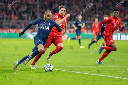 MUNICH, GERMANY - : Lucas Rodrigues Moura (Tottenham Hotspurs) and Javier Martinez (FC Bayern Muenchen) at the Football, UEFA Champions League, Matchday 6: FC Bayern Muenchen vs Tottenham Hotspur at the Allianz-Arena on in Muenchen, GERMANY. Photo: Horst Ettensberger/ESPA-Images