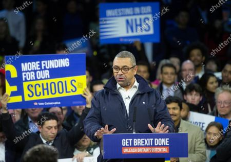 James Cleverly says a few words before Prime Minister, Boris Johnson, delivers his final rally speech at the Copperbox in the Queen Elizabeth Olympic Park in Stratford, on the eve of the General Election.