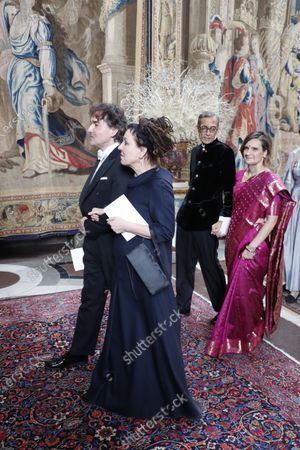 Nobel laureate in literature Olga Tokarczuk and Grzegorz Zygadlo arrive for the traditional dinner for the Nobel laureates at the Royal Palace
