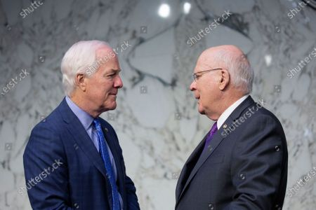 United States Senator John Cornyn (Republican of Texas) and United States Senator Patrick Leahy (Democrat of Vermont) speak prior to the testimony of Michael Horowitz, Inspector General at the U.S. Department Of Justice, before the United States Senate Committee on the Judiciary