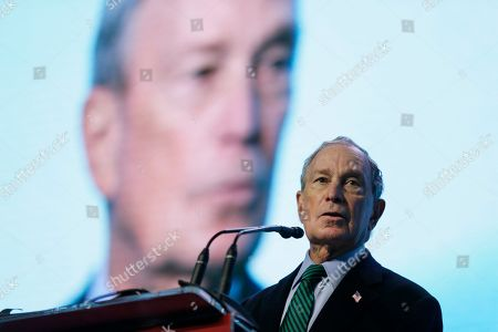 Stock Picture of Michael Bloomberg, Jerry Brown. Democratic Presidential candidate Michael Bloomberg speaks before taking part in an on-stage conversation with former California Gov. Jerry Brown at the American Geophysical Union fall meeting, in San Francisco. Bloomberg made his first visit to California as a Democratic presidential candidate, appearing earlier with the mayor of Stockton who's championed universal basic income. Bloomberg and Brown talked about America's Pledge, bringing together leaders to ensure the U.S. remains a global leader in reducing emissions and delivering the goals of the Paris Agreement