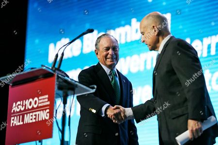 Michael Bloomberg, Jerry Brown. Democratic Presidential candidate and former New York City Mayor Michael Bloomberg, left, is greeted by former California Gov. Jerry Brown before taking part in a discussion at the American Geophysical Union fall meeting, in San Francisco. Bloomberg made his first visit to California as a Democratic president candidate, appearing earlier with the mayor of Stockton who's championed universal basic income. Bloomberg and Brown talked about America's Pledge, bringing together leaders to ensure the U.S. remains a global leader in reducing emissions and delivering the goals of the Paris Agreement