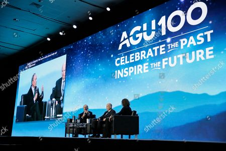 Michael Bloomberg, Jerry Brown. Democratic presidential candidate and former New York City Mayor Michael Bloomberg, left, takes part in an on-stage conversation with former California Gov. Jerry Brown, center, at the American Geophysical Union fall meeting, in San Francisco. Bloomberg made his first visit to California as a Democratic presidential candidate, appearing earlier with the mayor of Stockton who's championed universal basic income. Bloomberg and Brown talked about America's Pledge, bringing together leaders to ensure the U.S. remains a global leader in reducing emissions and delivering the goals of the Paris Agreement