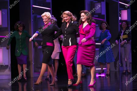 Natalie McQueen (Doralee Rhodes), Caroline Sheen (Violet Newstead) and Chelsea Halfpenny (Judy Bernly) during the curtain call