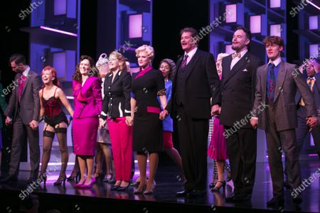 Bonnie Langford (Roz Keith), Chelsea Halfpenny (Judy Bernly), Caroline Sheen (Violet Newstead), Natalie McQueen (Doralee Rhodes) and David Hasselhoff (Franklin Hart Jr) during the curtain call