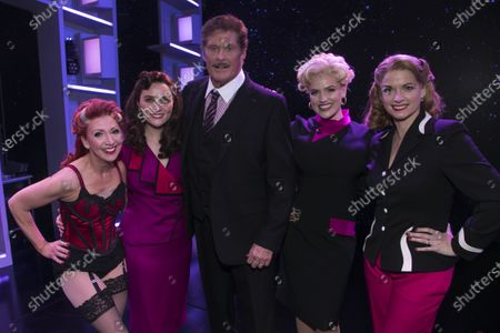 Stock Photo of Bonnie Langford (Roz Keith), Chelsea Halfpenny (Judy Bernly), David Hasselhoff (Franklin Hart Jr), Natalie McQueen (Doralee Rhodes) and Caroline Sheen (Violet Newstead) backstage