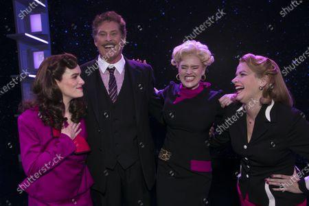 Chelsea Halfpenny (Judy Bernly), David Hasselhoff (Franklin Hart Jr), Natalie McQueen (Doralee Rhodes) and Caroline Sheen (Violet Newstead) backstage