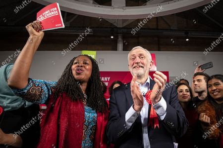 Leader of the Labour Party Jeremy Corbyn (R) on stage with Shadow Women & Equalities Secretary Dawn Butler (L) at the end of the party's final election rally of the campaign. Voters will head to polling stations tomorrow for the 2019 General Election.