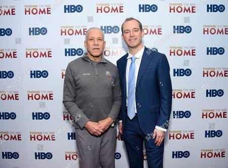 "Jon Alpert, Matthew O'Neill. Filmmakers Jon Alpert, left, and Matthew O'Neill attend the HBO Documentary Films premiere of ""Finding the Way Home"" at 30 Hudson Yards, in New York"