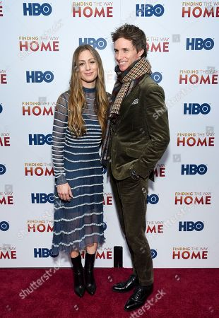 "Stock Photo of Hannah Bagshawe, Eddie Redmayne. Actor Eddie Redmayne, right, and wife Hannah Bagshawe attend the HBO Documentary Films premiere of ""Finding the Way Home"" at 30 Hudson Yards, in New York"