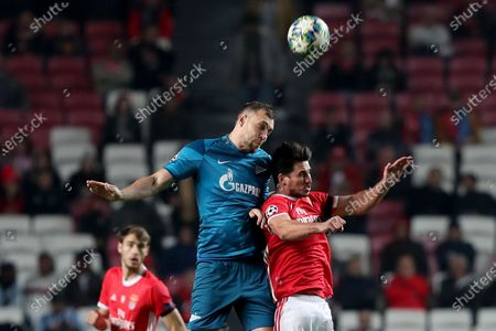 Stock Photo of Artem Dzyuba of Zenit vies and Gabriel of Benfica