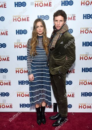 "Hannah Bagshawe, Eddie Redmayne. Actor Eddie Redmayne, right, and wife Hannah Bagshawe attend the HBO Documentary Films premiere of ""Finding the Way Home"" at 30 Hudson Yards, in New York"