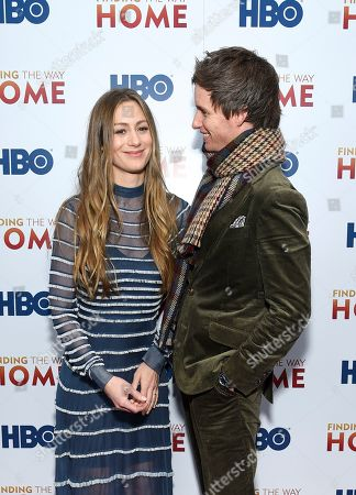 "Stock Image of Hannah Bagshawe, Eddie Redmayne. Actor Eddie Redmayne, right, and wife Hannah Bagshawe attend the HBO Documentary Films premiere of ""Finding the Way Home"" at 30 Hudson Yards, in New York"