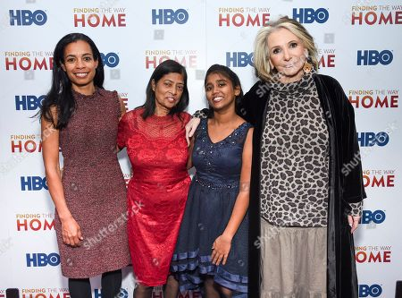 """Jacqueline Glover, Maria Fernandez, Livya Dsouza, Sheila Nevins. Executive producers Jacqueline Glover, left, and Sheila Nevins pose with subjects of the film Maria Fernandez, center left, and Livya Dsouza at the HBO Documentary Films premiere of """"Finding the Way Home"""" at 30 Hudson Yards, in New York"""
