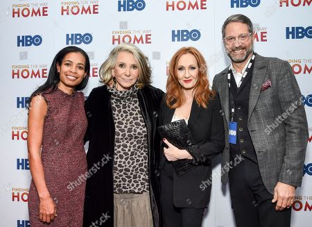 """Jacqueline Glover, Sheila Nevins, J.K. Rowling, Billy Di Michele. Executive producers Jacqueline Glover, from left, and Sheila Nevins pose with author and Lumos Foundation founder J.K. Rowling and Lumos Foundation USA chairman Billy Di Michele at the HBO Documentary Films premiere of """"Finding the Way Home"""" at 30 Hudson Yards, in New York"""