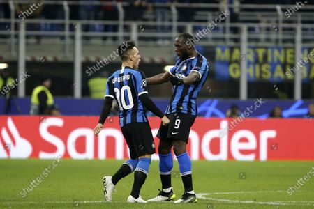Stock Image of Romelu Lukaku of Inter Milan and Lautaro Martinez of Inter Milan