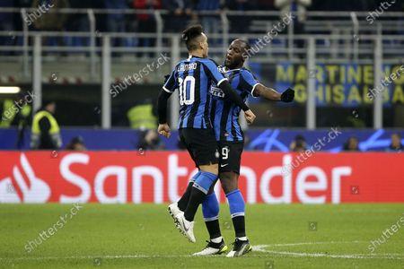 Romelu Lukaku of Inter Milan and Lautaro Martinez of Inter Milan