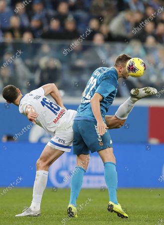 Artem Dzyuba of Zenit and Ivan Ordets of Dynamo Moscow