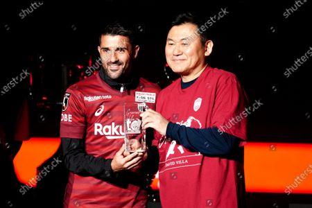 David Villa of Vissel Kobe, Hiroshi Mikitani of Vissel Kobe