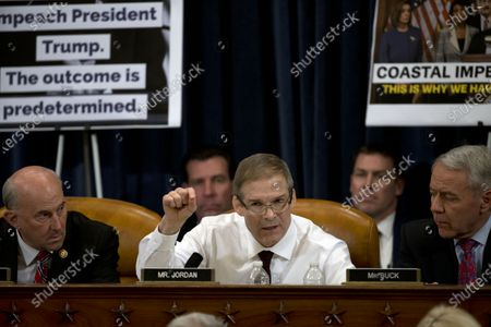 United States Representative Jim Jordan (Republican of Ohio), speaks during a House Judiciary Committee markup of the articles of impeachment against President Donald Trump  At left is US Representative Louie Gohmert (Representative of Texas) and at right is US Representative Ken Buck (Republican of Colorado).