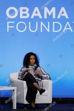 Former U.S. fist lady Michelle Obama speaks during an event for the Obama Foundation in Kuala Lumpur, Malaysia, . Obama and actress Julia Roberts attended the inaugural Gathering of Rising Leaders in the Asia Pacific organized by the Obama Foundation