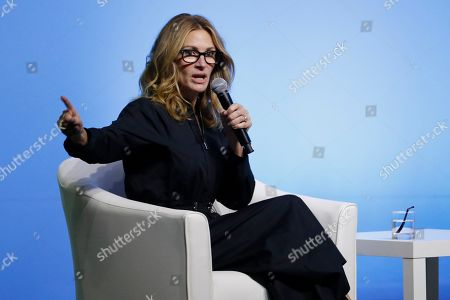 Julia Roberts speaks during an event for the Obama Foundation in Kuala Lumpur, Malaysia, . U.S. former first lady Michelle Obama and actress Julia Roberts attended the inaugural Gathering of Rising Leaders in the Asia Pacific organized by the Obama Foundation