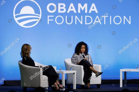 Michelle Obama, Julia Roberts. Former U.S. fist lady Michelle Obama, right, speaks as actress Julia Roberts listens on during an event for the Obama Foundation in Kuala Lumpur, Malaysia, . The former first lady and Roberts attended the inaugural Gathering of Rising Leaders in the Asia Pacific organized by the Obama Foundation