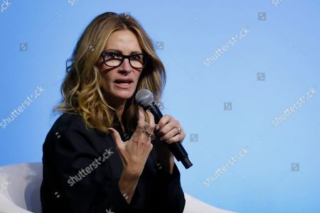 Julia Roberts speaks during an event for the Obama Foundation in Kuala Lumpur, Malaysia, . Former first lady Michelle Obama and Roberts attended the inaugural Gathering of Rising Leaders in the Asia Pacific organized by the Obama Foundation