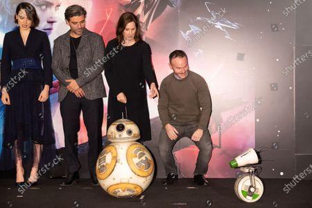 Stock Photo of Daisy Ridley, Oscar Isaac, Kathleen Kennedy, Chris Terrio