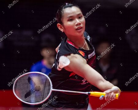 Tzu Ying Tai of Taiwan in action against Ratchanok Intanon of Thailand during a women's singles match of the BWF World Tour Finals Badminton tournament at Tianhe Gymnasium in Guangzhou, China, 12 December 2019.