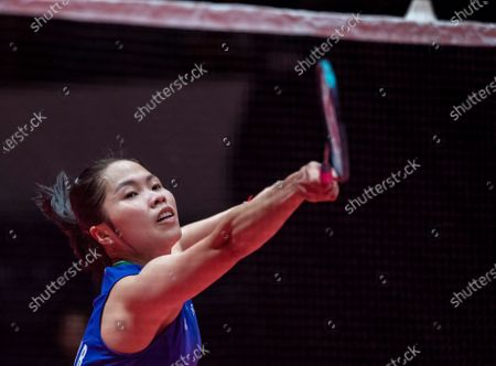 Ratchanok Intanon of Thailand in action against Tzu Ying Tai of Taiwan during a women's singles match of the BWF World Tour Finals Badminton tournament at Tianhe Gymnasium in Guangzhou, China, 12 December 2019.