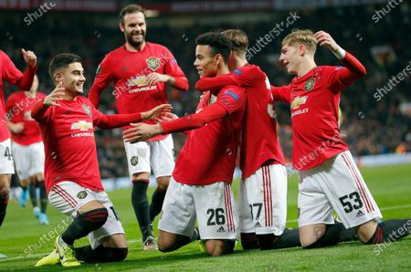 Mason Greenwood of Manchester United  cele on his 2nd goal with James Garner of Manchester United and Brandon Williams of Manchester United and Andreas Pereira of Manchester United