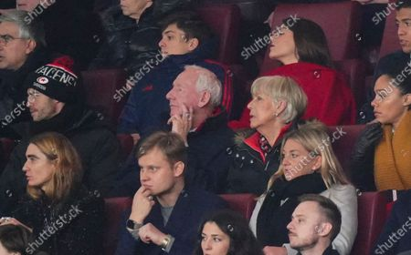 Stock Image of Former Arsenal player Bob Wilson looks on from the Directors' Box