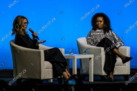 Stock Picture of Former US first lady Michelle Obama (R) and US actress Julia Roberts participate at an Obama Foundation event in Kuala Lumpur, Malaysia, 12 December 2019.