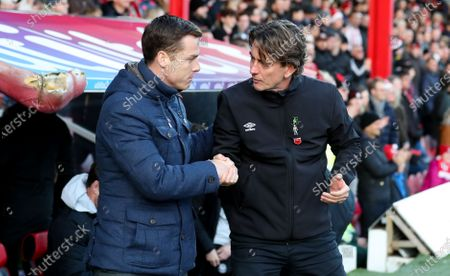 Brentford Manager Thomas Frank shakes hands with Fulham Manager Scott Parker