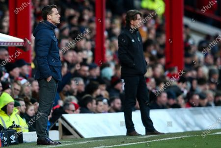 Fulham Manager Scott Parker & Brentford Manager Thomas Frank (R)