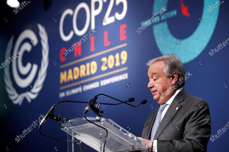 United Nations (UN) Secretary General Antonio Guterres delivers a speech during the round table talks on 'Climate Action for Jobs Initiative' at the COP25 UN Climate Change Conference in Madrid, Spain, 12 December 2019. The 2019 United Nations Climate Change Conference (COP25) under the presidency of the government of Chile runs from 02 to 13 December 2019 in the Spanish capital.