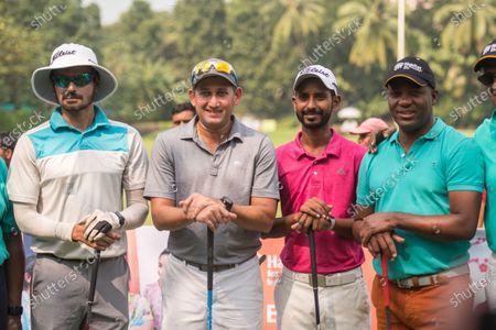 Former West Indies cricketer Brian Lara with former Indian cricketers Ajit Agarkar, S Badrinath and golfer Rashid Khan