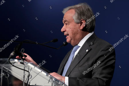 Antonio Guterres, Secretary-General of the United Nations delivers a speech at the COP25 climate talks summit in Madrid, Spain
