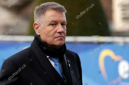 Romanian President Klaus Iohannis arrives for the European People's Party (EPP) leaders meeting ahead to  European summit in Brussels, Belgium, 12 December 2019. An European Council meeting will be held in Brussels on 12 and 13 December during which the EU27 leaders among other topics will discuss the Brexit and preparations for the negotiations on future EU-UK relations after the withdrawal as well as a revision of the European Stability Mechanism (ESM) Treaty.