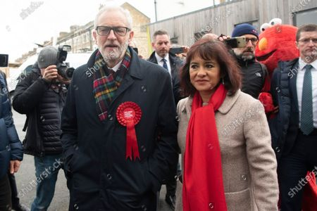 Labour Party Leader Jeremy Corbyn and wife Laura Alvarez arrives to vote at a polling station in his Islington North constituency